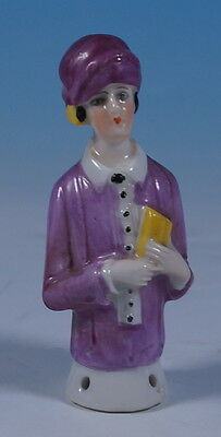 Antique German Porcelain Pin Cushion Half Doll Flapper Girl Figure c1920 15522