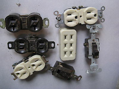 Vintage  Wall Plugs & Switches Lot House Building Architecture