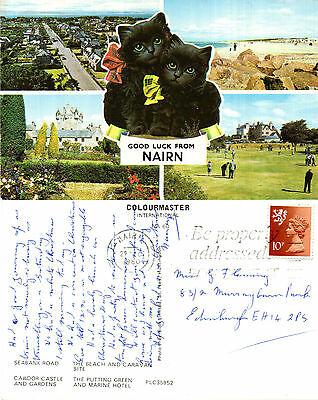 1980 Multi Views Of Nairn Nairnshire Scotland Colour Postcard