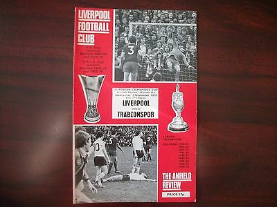 Liverpool v Trabzonspor Programme Euro Cup 2R2L 3.11.1976