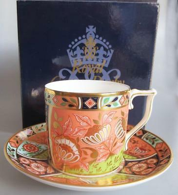 Royal Crown Derby Imari Inspired Coffee Cup and Saucer Regency Flowers