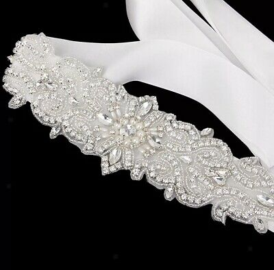 Bridal Wedding Rhinestone Crystal Pearl Encrusted Diamante Sash Dress White Belt