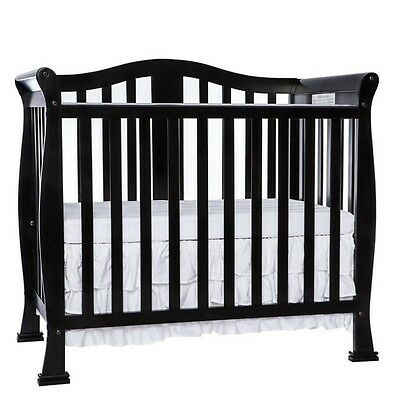 Dream On Me Naples 4-in-1 Convertible Mini Crib in Black Transitional