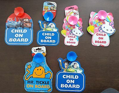 Child on Board Car Signs Cars, Toy Story, Hello Kitty, Mr Tickle
