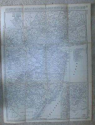 """Vintage 21"""" x 28"""" 1940's Linen Backed  Map New Jersey NJ"""