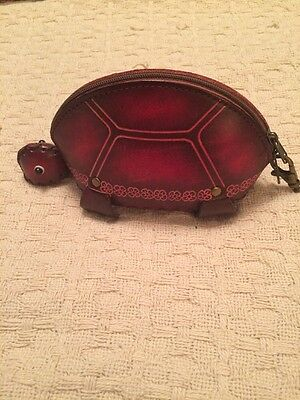 Vintage Leather Turtle Coin Purse In Red