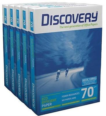 Discovery A4 White Office Paper 70gsm Pack of 5 Reams (500 Sheets per Ream)