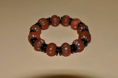 "Certified Natural red agate Hand-Carved Bracelets""Grade AAAAA"""