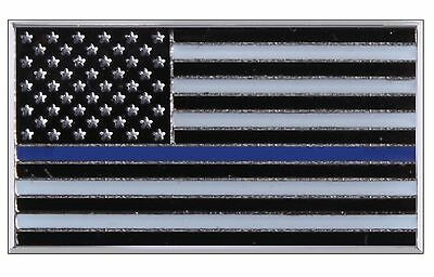 "Thin Blue Line USA Flag Police Support Lapel Pin - Rothco .75"" Brass Chest Pins"