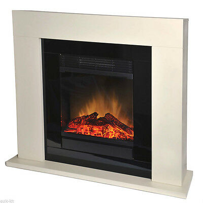 Dimplex Electric Small Cream Stone Effect Surround Fire Flame Fireplace Suite