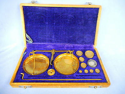 Portable Vintage Apothecary  Hanging Brass Balance Beam Scales with weights ~