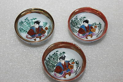 Three Vintage Japanese Small Saki Cups Hand Painted  Signed To Bases