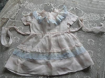 Vtg Toddler Girl Pink Dress Chiffon Nylon  Blue Lace Sz 4 Tiny Town Togs NWOT