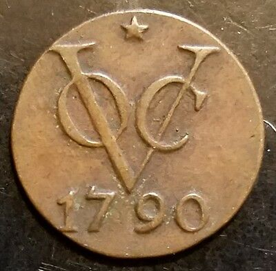 1790 Netherlands East Indies DVIT Copper Coin XF