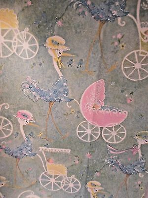 VINTAGE 1970's STORKS PUSHING ANTIQUE BABY STROLLERS HALLMARK WRAPPING PAPER NOS