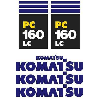 Komatsu PC130-7 PC160-7 LC New Repro Excavator decals Stickers Kit