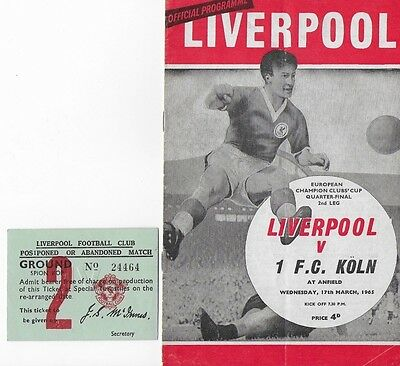 Liverpool v 1 FC Köln programme + ticket: European Cup, Anfield, March 17, 1965
