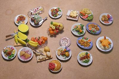 1:12 Scale Various Dolls House Miniature Plated Food, Fruit Fish Meat Duck