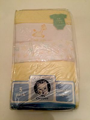 NEW GERBER BABY BOY GIRL Onesies Size 3-9 Months Newborn Neutral Yellow LOT 5p