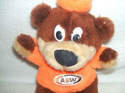 """A & W Root Beer Bear Mascot Plush Stuffed 9 """" From 1990's Logo Patch on  Shirt"""
