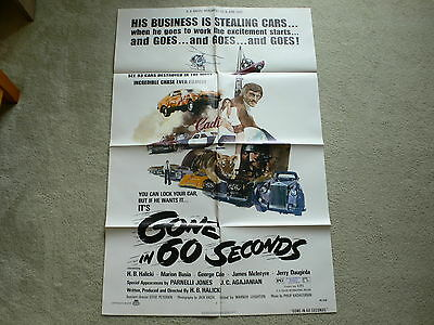 Gone In 60 Seconds 1970's ORIGINAL Film Poster   EXCELLENT CONDITION RARE
