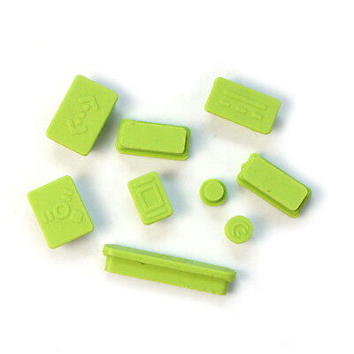 9pcs Silicone Anti Dust Plug Ports Cover Set For Macbook Pro 13 15 Green