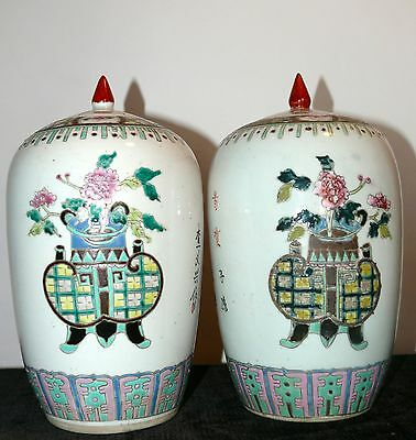 Antique 19Th Century Chinese Ginger Jars Pair Matching