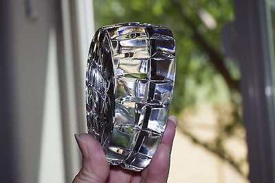 Lead Crystal  Paper Weight Oblong Shape  With  Cut  Sides And Flower Design