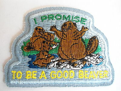 Vintage Beavers Oath Patch, Boy Scouts, Beavers Insignia, Fraternal Crest