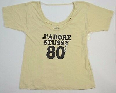 82a1f896 Stussy JADORE DOUBLE SCOOP TEE Light Brown Black Junior's Short Sleeve Shirt