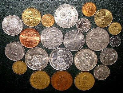 MEXICO LOT WITH 3 LARGE SILVER UN PESO COINS! MEXICAN COIN COLLECTION! (41b)