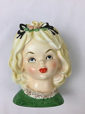 Vintage Japan Head Vase Young Lady Girl Blonde Red Clover Wreath 1960's RARE