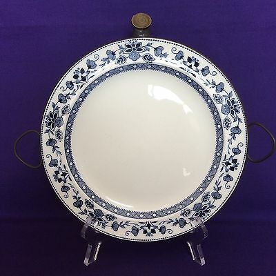 Antique Porcelain & Metal Warming Plate Blue & White Floral Design With Handles