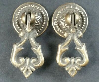 "2 Teardrop Handles Pulls Ornate Victorian Antique Style 2"" # H8"