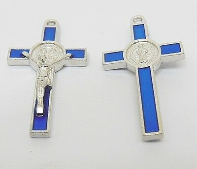 50X Enamel Blue Cross Pendant Jewellery Finding 3.8x2x0.5cm