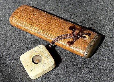 Antique Japanese Woven Eye Glasses Case With Netsuke