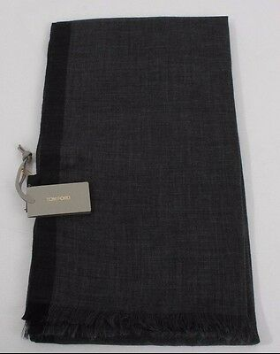 NWT Authentic Tom Ford Scarf Shawl Gray & Black Cashmere & Cotton #Tf0060