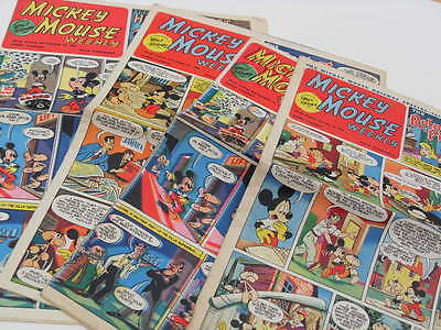 """4 Disney """"Mickey Mouse Weekly"""" comics from 1952/3"""