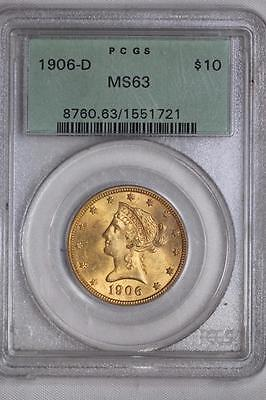 1906 D $10 US Gold Liberty Head Eagle MS63 PCGS OGH Ten Dollar Coin