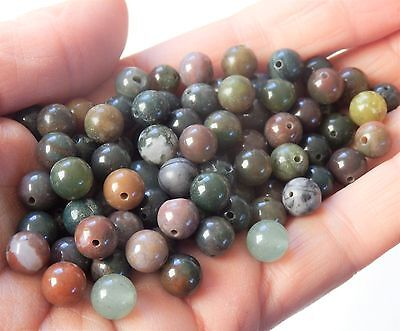 Lot of 100 Green with brown shades Agate natural gemstone beads,8mm
