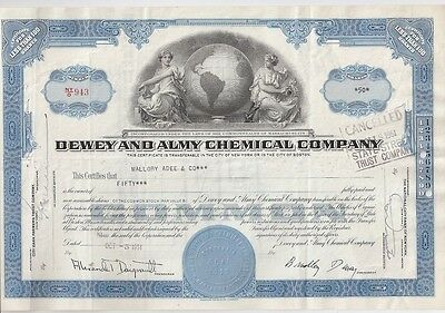 Dewey And Almy Chemical Company......1951 Stock Certificate