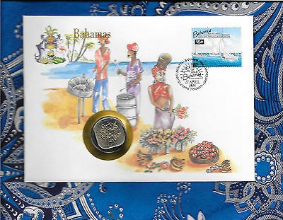 E Coins of All Nations Bahamas 1969 15 Cents UNC KM#5 Hibiscus