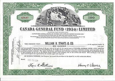 Canada General Fund (1954) Limited.....1954 Stock Certificate