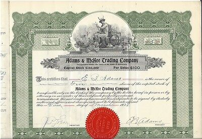 Adams & Mckee Trading Company (California)....1928 Stock Certificate