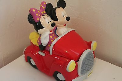 Disney Mickey and Minnie Mouse on a car ride collectible cookie jar 31828