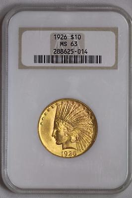 1926 $10 Gold Indian Head Eagle MS63 NGC US Mint Coin #014