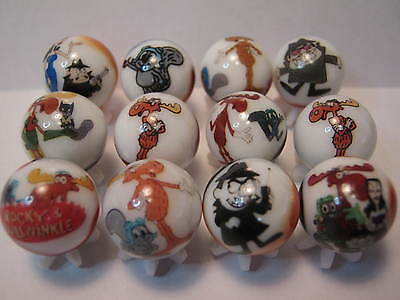 Rocky & Bullwinkle MARBLES 5/8 size Collection lot with stands