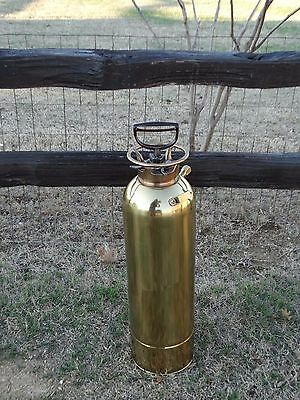 """17597 Antique Large  BRASS FIRE EXTINGUSIHER ~ 24"""" tall ~ Polished (empty)"""
