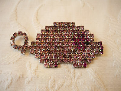 Large Pink Rhinestone  Pig  Brooch Pin,  Signed Bauer