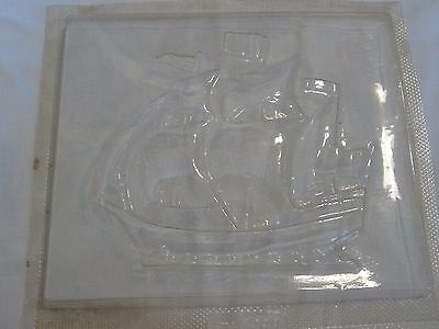 """Vintage Chalkware Plaster Mold Tall Ship PM1298 7.5"""" x 9"""" Wall Hanging"""